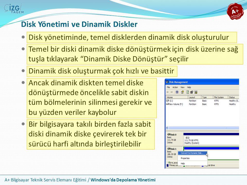 A+ Bilgisayar Teknik Servis Elemanı Eğitimi / Windows'da Depolama Yönetimi Windows'da bir bölümü disk yönetimi kısmından veya Explorer içerisinden biçimlendirebilirsiniz Sistem diskiniz (genellikle C:) bölümünü biçimlendiremezsiniz Disk üzerinde sağ tuşa tıklayıp format / biçimlendir seçeneğine tıklanır Bu ekranda da Windows kurulum yazılımında olduğu gibi normal ve hızlı biçimlendirme seçenekleri yer alır Windows İçinden Biçimlendirme