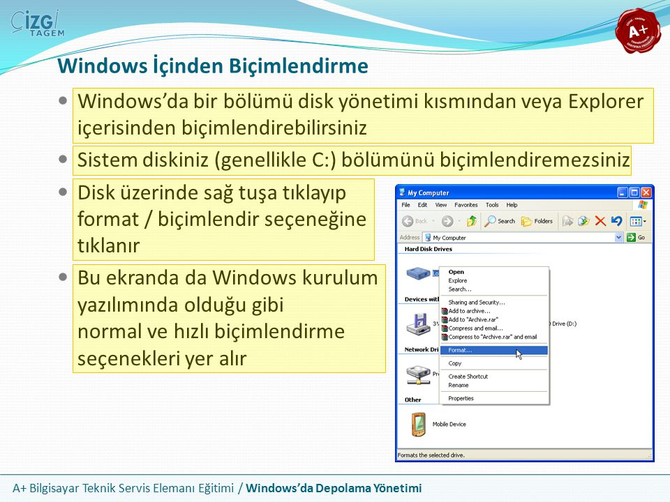 A+ Bilgisayar Teknik Servis Elemanı Eğitimi / Windows'da Depolama Yönetimi Windows'da bir bölümü disk yönetimi kısmından veya Explorer içerisinden biç