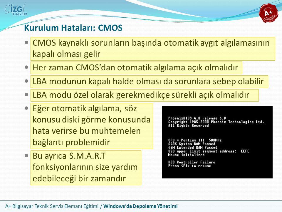 A+ Bilgisayar Teknik Servis Elemanı Eğitimi / Windows'da Depolama Yönetimi Kurulum Hataları: Bölme ve Biçimlendirme Sistem diskinizde olan bölme ve biçimlendirme hataları açılış ekranında hata verir ve işletim sisteminiz açılamaz Drive Is Not Accessible: Sürücüye erişilemiyor Invalid Media Type: Geçersiz ortam türü Her iki durumda da sabit diskiniz CMOS'da sorunsuz görünür Eğer sorunlu disk sistem diskiniz değil ise aygıt yöneticisi ve disk yönetimi içinden de sabit diski görebilirsiniz Bu durumda bölme hatası var ise windows explorer içerisinde ilgili sürücü görünmeyecektir Biçimlendirme hatalarında ise sürücü görünür; ancak girmek istediğinizde biçimlendirilmesi gerektiğine dair uyarı alırsınız