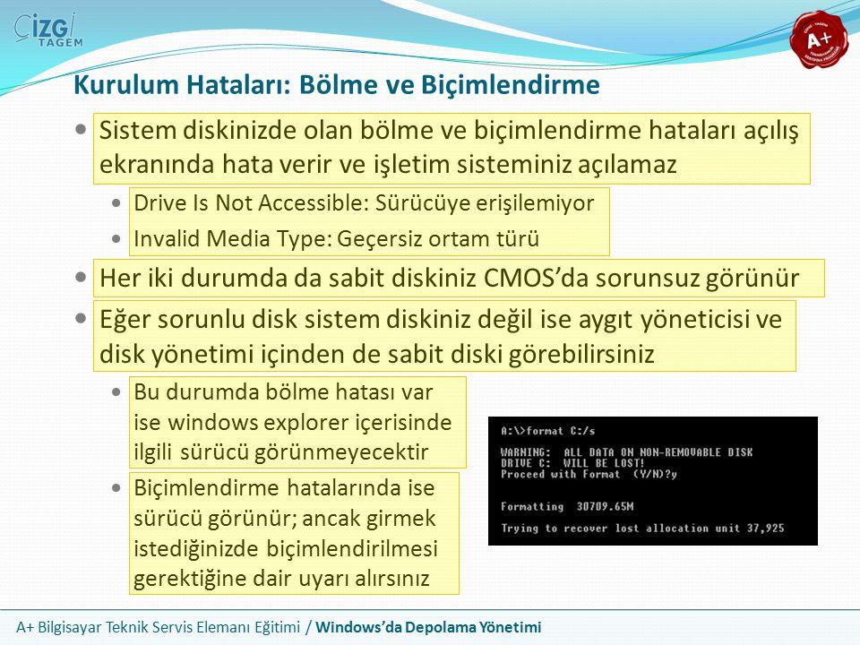 A+ Bilgisayar Teknik Servis Elemanı Eğitimi / Windows'da Depolama Yönetimi Veri Bozulması Veri bozulması hatasının başlıca sebepleri güç dalgalanmaları, hatalı kapatmalar, hatalı takılan medya veya virüsler olabilir Veri bozulması Windows'da hata mesajları üretir Eğer çekirdek başlangıç dosyaları bozulursa Windows açılamaz Bu sorunlardan herhangi biri için ilk çözüm, bir hata denetim yazılımı çalıştırmaktır Hata denetleme disk üzerinde kötü kümeleri işaretleyecek ve mümkünse veriyi iyi bir kümeye taşıyacaktır