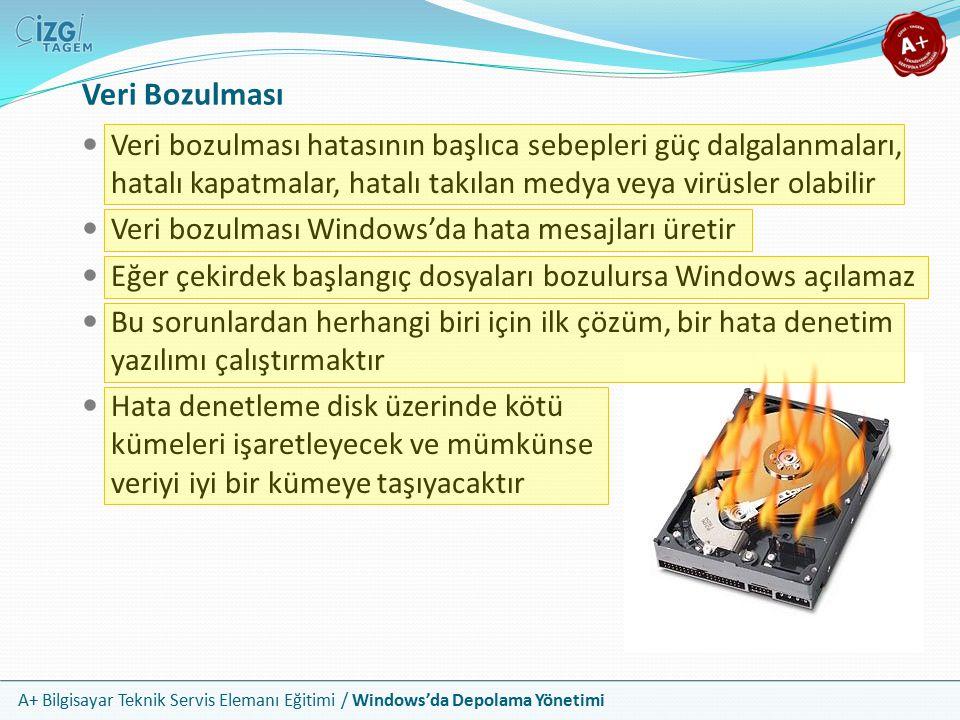 A+ Bilgisayar Teknik Servis Elemanı Eğitimi / Windows'da Depolama Yönetimi Eğer hata denetimi Windows un yüklenmesi için gerekli olan kritik öneme sahip dosyada hata verirse o dosyanın kurulum ortamından tekrar yüklenmesi denenebilir Sistem dosyaları Windows kabin (cab) dosyalarında bulunur ve bunların içinden çıkartılmaları gerekebilir Örneğin EXPAND e:\I386\*.CAB -F:OLEPRO32.DLL komutu, dizindeki tüm CAB dosyalarını inceler ve dosyayı bulur Bozulan Sistem Dosyalarını Kurtarma