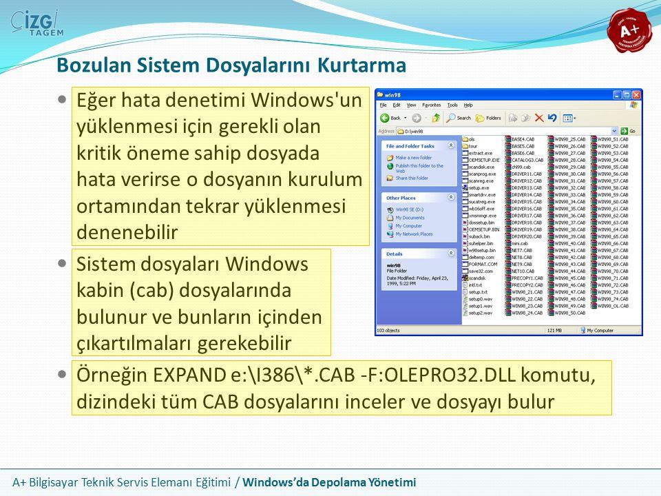 A+ Bilgisayar Teknik Servis Elemanı Eğitimi / Windows'da Depolama Yönetimi Eğer hata denetimi Windows'un yüklenmesi için gerekli olan kritik öneme sah