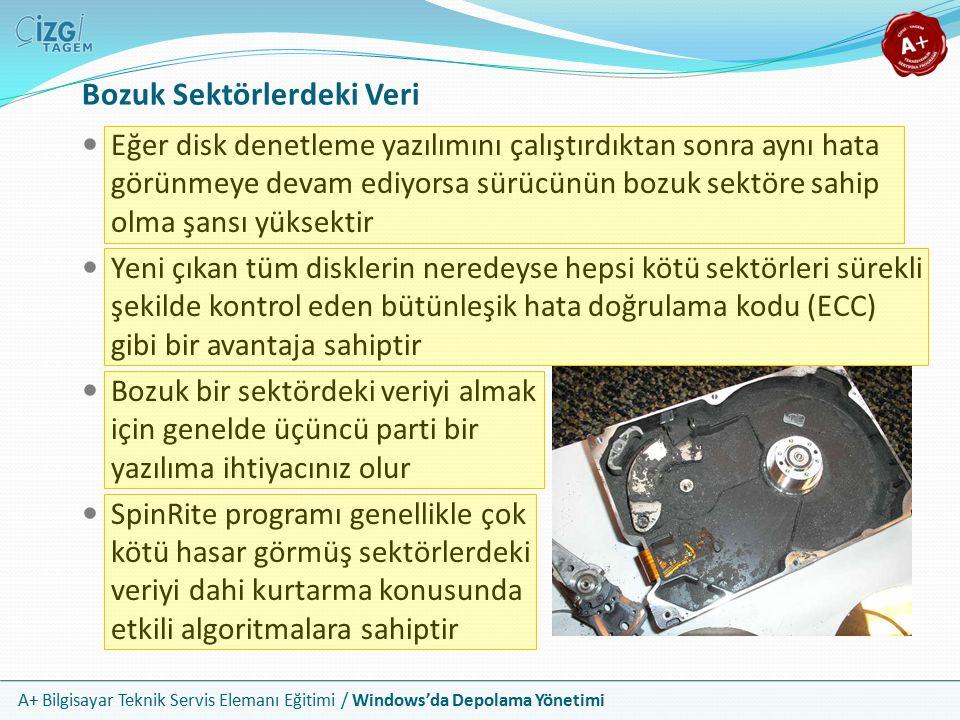 A+ Bilgisayar Teknik Servis Elemanı Eğitimi / Windows'da Depolama Yönetimi Sabit Diskin Bozulması Bir sabit disk fiziksel olarak zarar görürse herhangi bir servis teknisyeninin onu düzeltmek için yapabileceği hiçbir şey yoktur Fiziksel sorunlar kendilerini iki yolla açığa vururlar Disk uygun bir şekilde çalışır fakat çok ses yapar Disk hiç çalışmaz Disk anormal sesler üretmeye başladığında önemli verinizi yedekleyin ve diski değiştirin Disk hiç çalışmıyorsa kurulum sorunlarına ait adımları kontrol edin Buna rağmen disk sistemde görünmüyor ise bozulmuştur