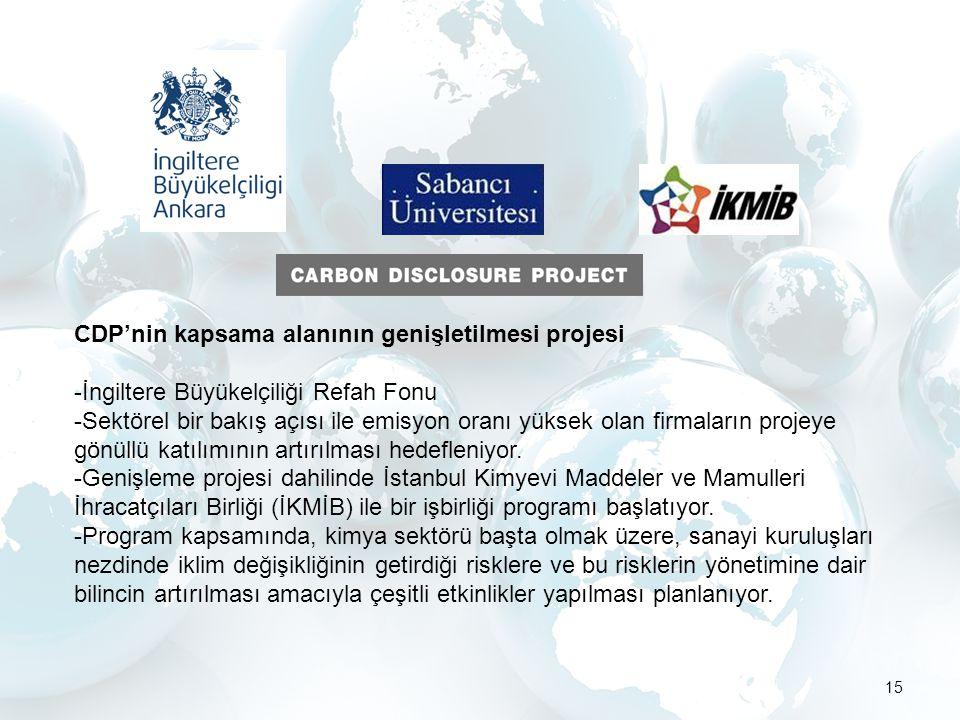 15 CDP'nin kapsama alanının genişletilmesi projesi -İngiltere Büyükelçiliği Refah Fonu -Sektörel bir bakış açısı ile emisyon oranı yüksek olan firmaların projeye gönüllü katılımının artırılması hedefleniyor.