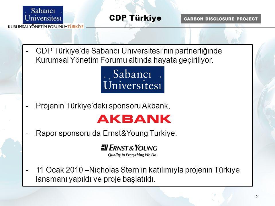 2 - CDP Türkiye'de Sabancı Üniversitesi'nin partnerliğinde Kurumsal Yönetim Forumu altında hayata geçiriliyor. - Projenin Türkiye'deki sponsoru Akbank