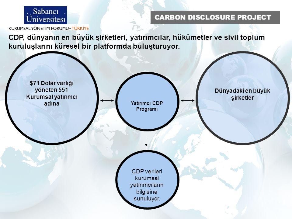 5 o CDP Tedarik Zinciri (CDP Supply Chain) o CDP Kentler Programı (CDP Cities) o CDP Su Saydamlığı (CDP Water Disclosure) o CDP Yatırımcı Programı (Investor CDP) o CDP Karbon Hareketi (Carbon Action) CDP Programları