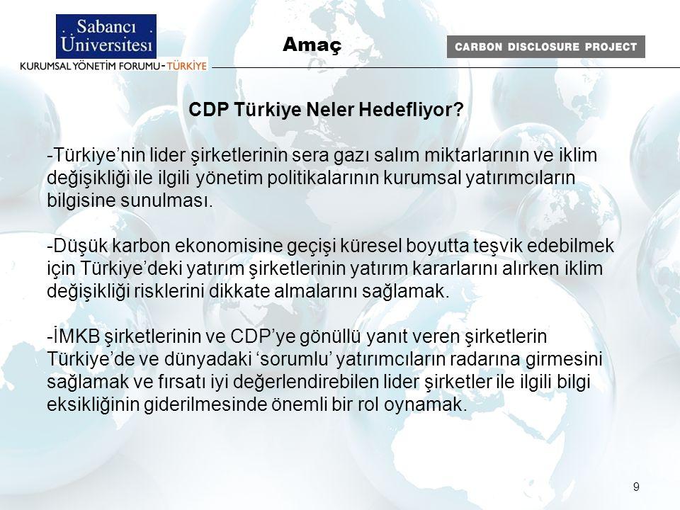 9 CDP Türkiye Neler Hedefliyor? -Türkiye'nin lider şirketlerinin sera gazı salım miktarlarının ve iklim değişikliği ile ilgili yönetim politikalarının