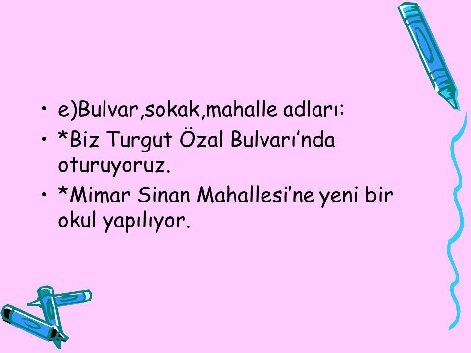 e)Bulvar,sokak,mahalle adları: *Biz Turgut Özal Bulvarı'nda oturuyoruz. *Mimar Sinan Mahallesi'ne yeni bir okul yapılıyor.