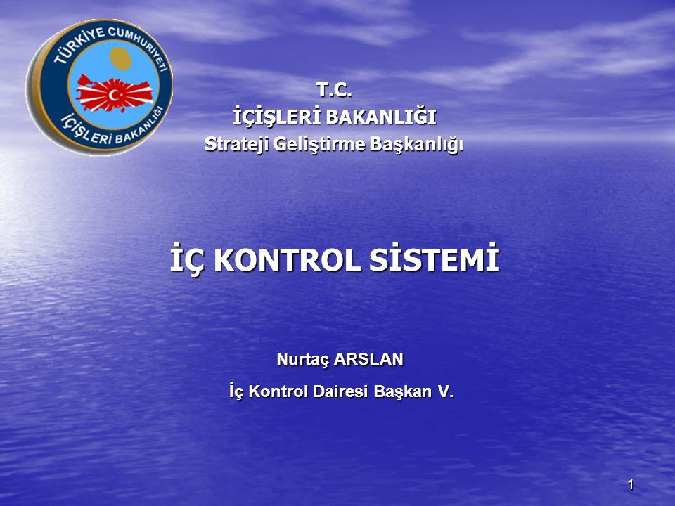 11 T.C. İÇİŞLERİ BAKANLIĞI S trateji G eliştirme B aşkanlığı İÇ KONTROL SİSTEMİ Nurtaç ARSLAN İç Kontrol Dairesi Başkan V.