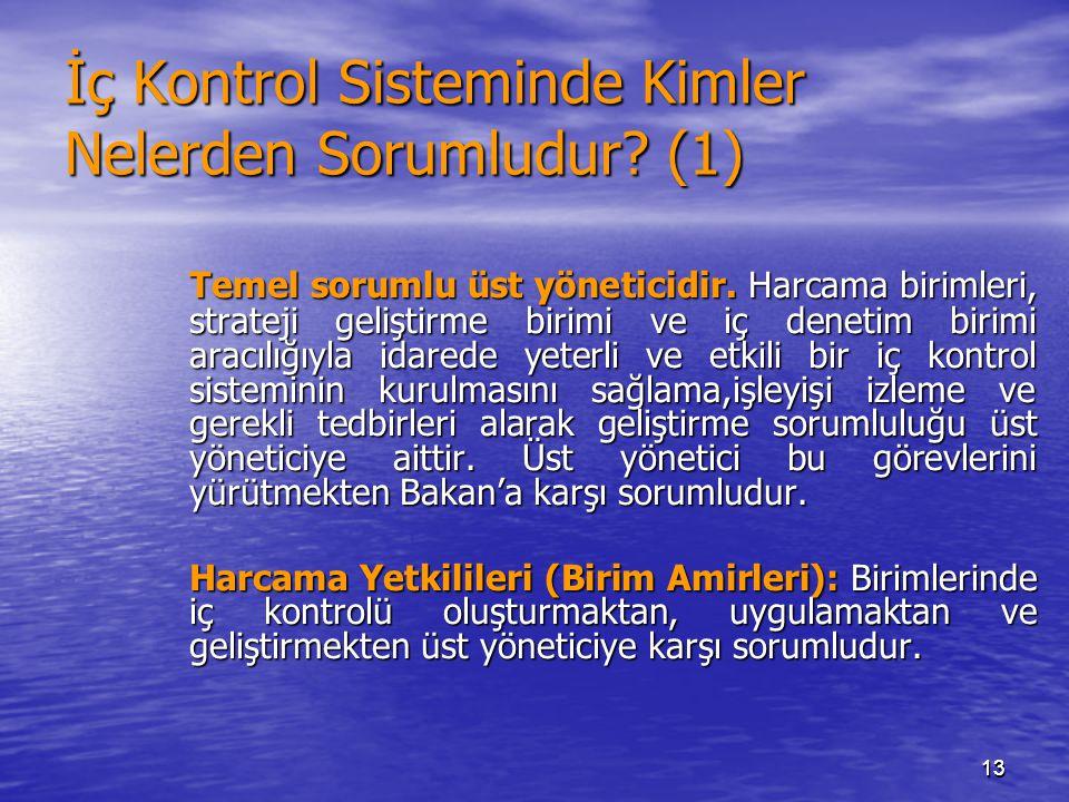 1313 İç Kontrol Sisteminde Kimler Nelerden Sorumludur? (1) Temel sorumlu üst yöneticidir. Harcama birimleri, strateji geliştirme birimi ve iç denetim