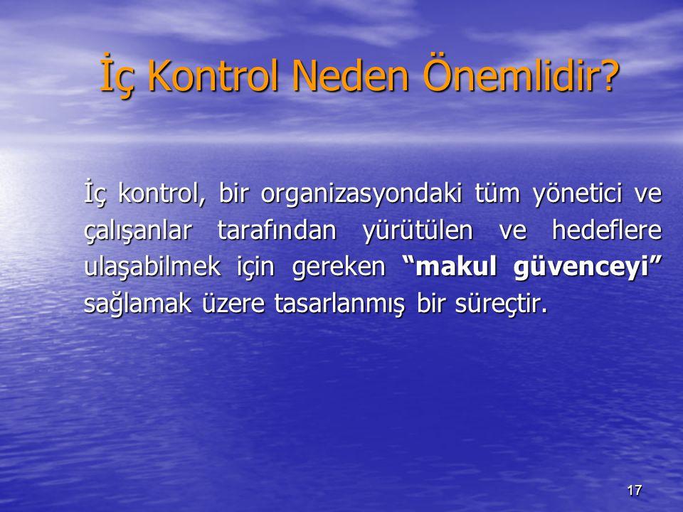 1717 İç Kontrol Neden Önemlidir? İç kontrol, bir organizasyondaki tüm yönetici ve çalışanlar tarafından yürütülen ve hedeflere ulaşabilmek için gereke