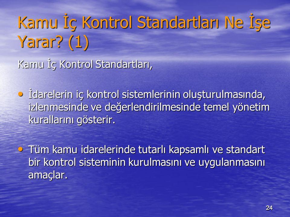 2424 Kamu İç Kontrol Standartları Ne İşe Yarar? (1) Kamu İç Kontrol Standartları, İdarelerin iç kontrol sistemlerinin oluşturulmasında, izlenmesinde v