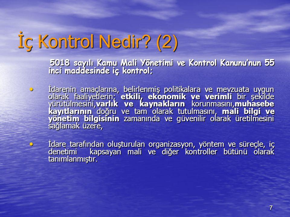 77 İç Kontrol Nedir? (2) 5018 sayılı Kamu Mali Yönetimi ve Kontrol Kanunu'nun 55 inci maddesinde iç kontrol; 5018 sayılı Kamu Mali Yönetimi ve Kontrol