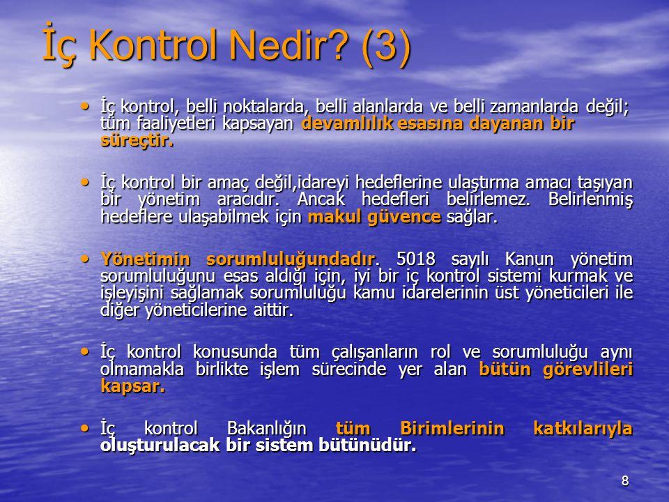 8 İç Kontrol Nedir? (3) İç kontrol, belli noktalarda, belli alanlarda ve belli zamanlarda değil; tüm faaliyetleri kapsayan devamlılık esasına dayanan