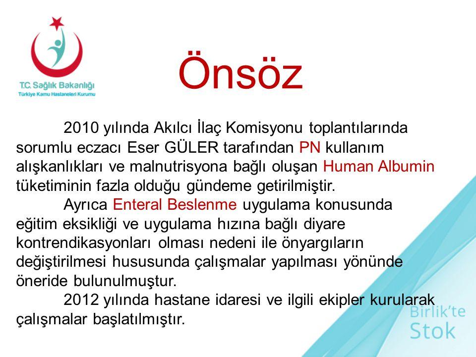 2010 yılında Akılcı İlaç Komisyonu toplantılarında sorumlu eczacı Eser GÜLER tarafından PN kullanım alışkanlıkları ve malnutrisyona bağlı oluşan Human