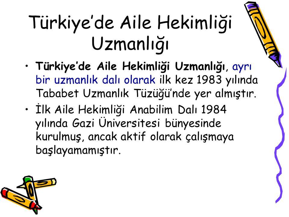 Türkiye'de Aile Hekimliği Uzmanlığı Türkiye'de Aile Hekimliği Uzmanlığı, ayrı bir uzmanlık dalı olarak ilk kez 1983 yılında Tababet Uzmanlık Tüzüğü'nd