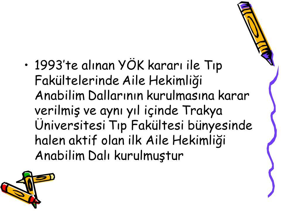 1993'te alınan YÖK kararı ile Tıp Fakültelerinde Aile Hekimliği Anabilim Dallarının kurulmasına karar verilmiş ve aynı yıl içinde Trakya Üniversitesi