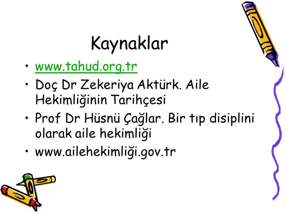 Kaynaklar www.tahud.org.tr Doç Dr Zekeriya Aktürk. Aile Hekimliğinin Tarihçesi Prof Dr Hüsnü Çağlar. Bir tıp disiplini olarak aile hekimliği www.aileh