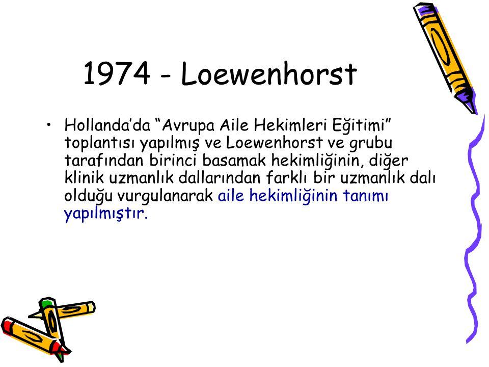 """1974 - Loewenhorst Hollanda'da """"Avrupa Aile Hekimleri Eğitimi"""" toplantısı yapılmış ve Loewenhorst ve grubu tarafından birinci basamak hekimliğinin, di"""
