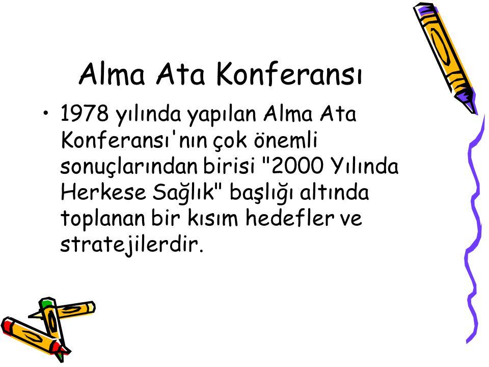 Alma Ata Konferansı 1978 yılında yapılan Alma Ata Konferansı'nın çok önemli sonuçlarından birisi
