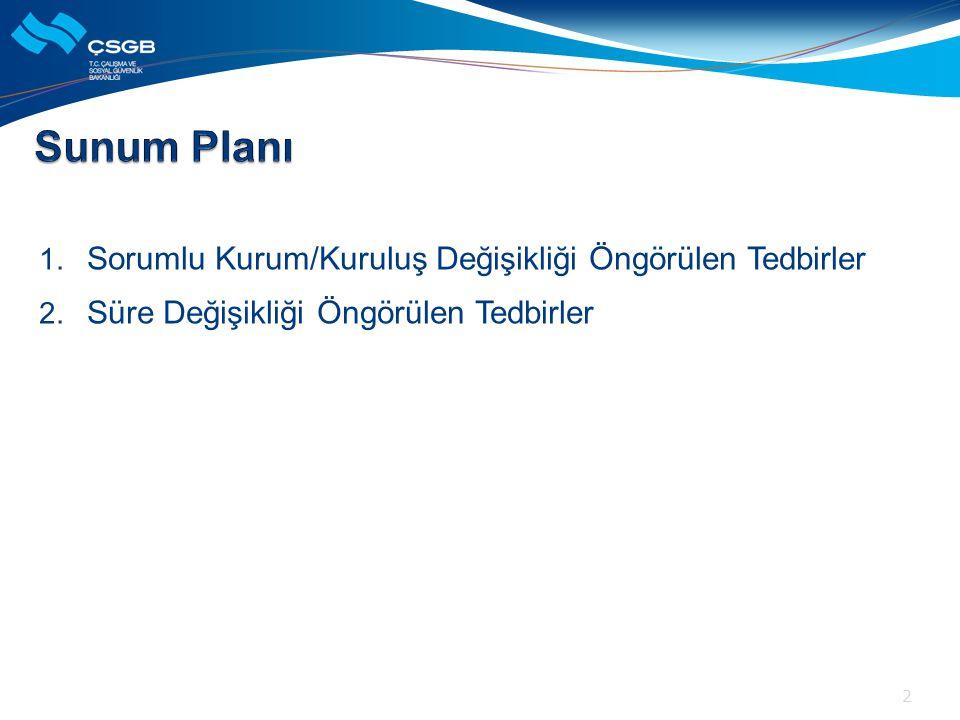 1. Sorumlu Kurum/Kuruluş Değişikliği Öngörülen Tedbirler 2. Süre Değişikliği Öngörülen Tedbirler 2