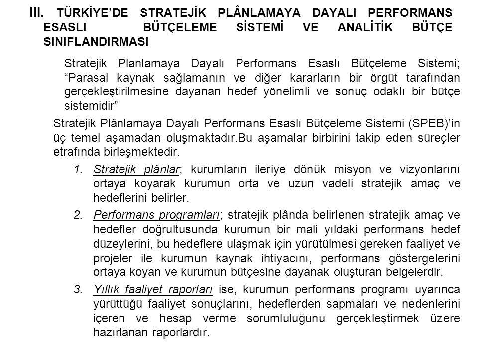 III. TÜRKİYE'DE STRATEJİK PLÂNLAMAYA DAYALI PERFORMANS ESASLI BÜTÇELEME SİSTEMİ VE ANALİTİK BÜTÇE SINIFLANDIRMASI Stratejik Planlamaya Dayalı Performa