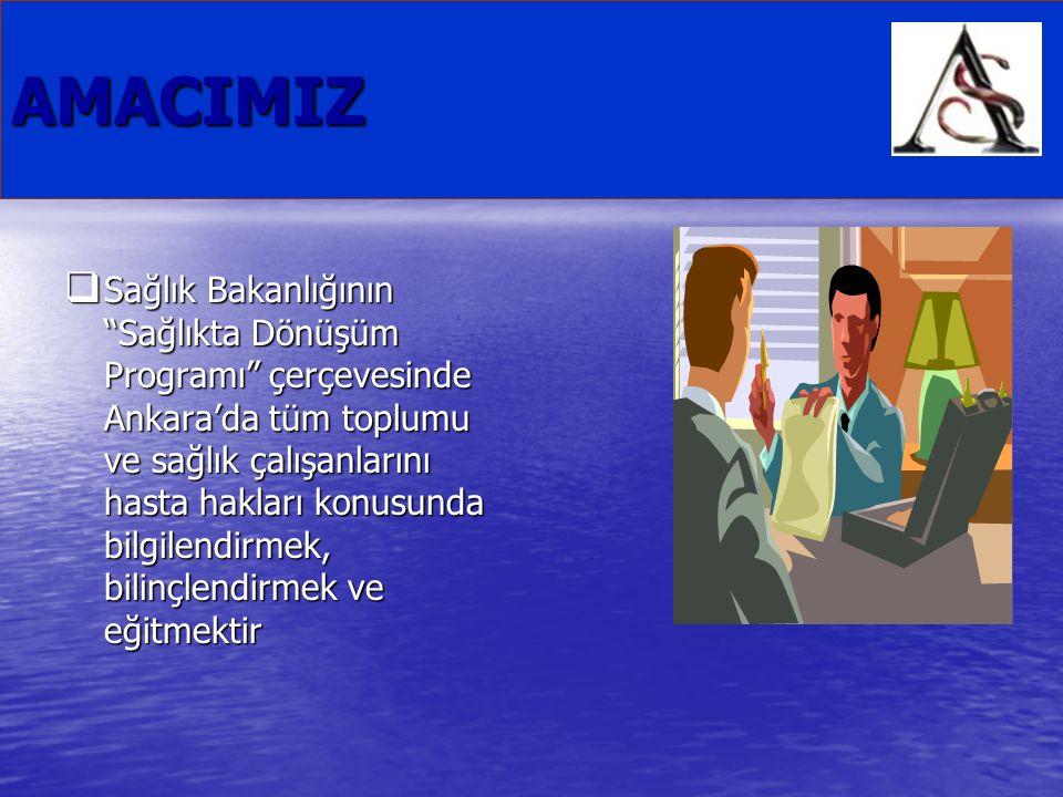 """AMACIMIZ  Sağlık Bakanlığının """"Sağlıkta Dönüşüm Programı"""" çerçevesinde Ankara'da tüm toplumu ve sağlık çalışanlarını hasta hakları konusunda bilgilen"""