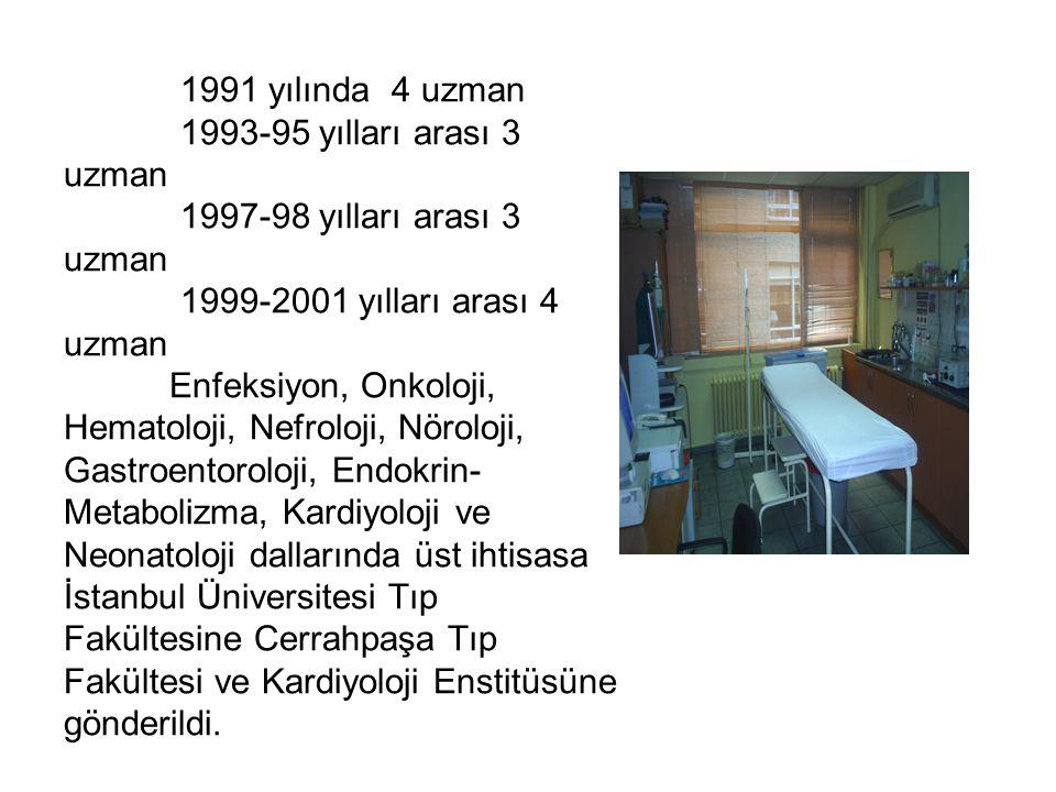 1991 yılında 4 uzman 1993-95 yılları arası 3 uzman 1997-98 yılları arası 3 uzman 1999-2001 yılları arası 4 uzman Enfeksiyon, Onkoloji, Hematoloji, Nefroloji, Nöroloji, Gastroentoroloji, Endokrin- Metabolizma, Kardiyoloji ve Neonatoloji dallarında üst ihtisasa İstanbul Üniversitesi Tıp Fakültesine Cerrahpaşa Tıp Fakültesi ve Kardiyoloji Enstitüsüne gönderildi.