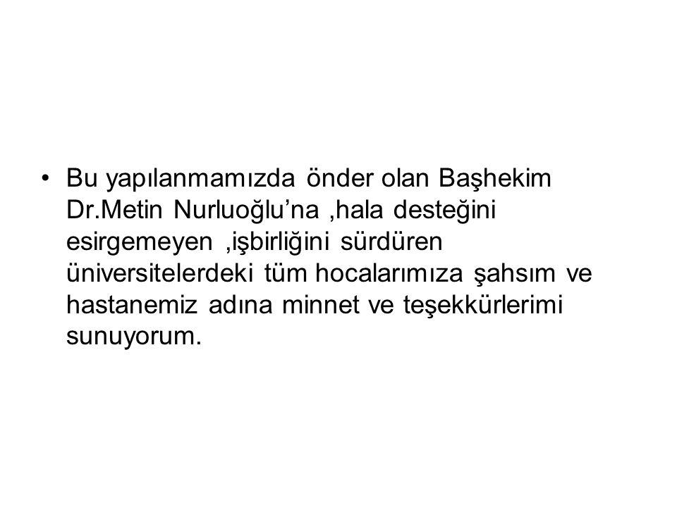 Bu yapılanmamızda önder olan Başhekim Dr.Metin Nurluoğlu'na,hala desteğini esirgemeyen,işbirliğini sürdüren üniversitelerdeki tüm hocalarımıza şahsım ve hastanemiz adına minnet ve teşekkürlerimi sunuyorum.
