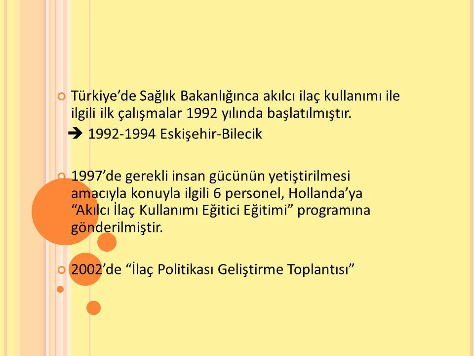 Türkiye'de Sağlık Bakanlığınca akılcı ilaç kullanımı ile ilgili ilk çalışmalar 1992 yılında başlatılmıştır.  1992-1994 Eskişehir-Bilecik 1997'de gere