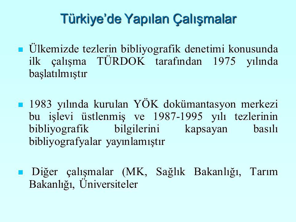 Türkiye'de Yapılan Çalışmalar Ülkemizde tezlerin bibliyografik denetimi konusunda ilk çalışma TÜRDOK tarafından 1975 yılında başlatılmıştır Ülkemizde