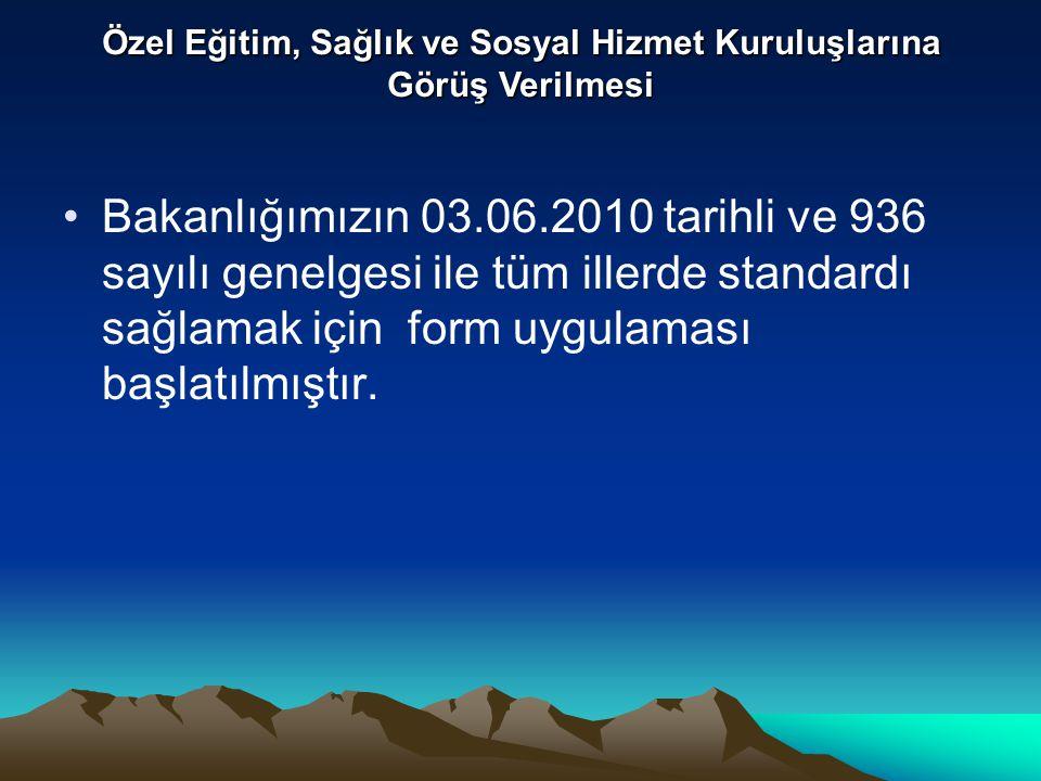 Bakanlığımızın 03.06.2010 tarihli ve 936 sayılı genelgesi ile tüm illerde standardı sağlamak için form uygulaması başlatılmıştır.