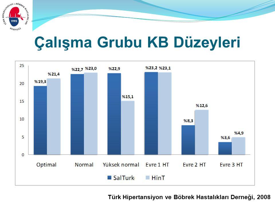 Türk Hipertansiyon ve Böbrek Hastalıkları Derneği, 2008 Çalışma Grubu KB Düzeyleri