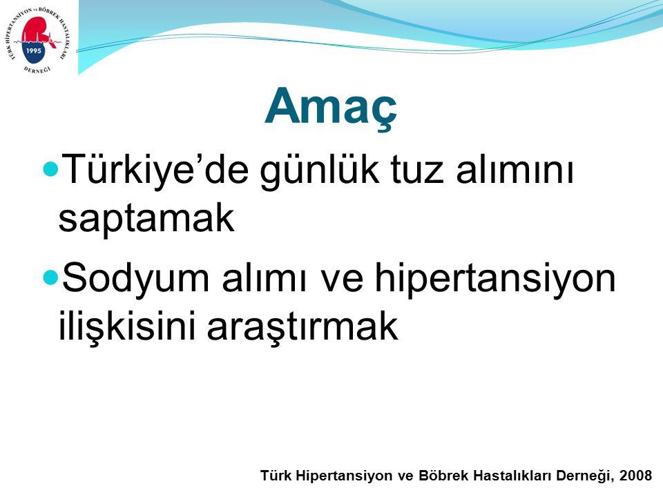 Türk Hipertansiyon ve Böbrek Hastalıkları Derneği, 2008 Amaç Türkiye'de günlük tuz alımını saptamak Sodyum alımı ve hipertansiyon ilişkisini araştırmak
