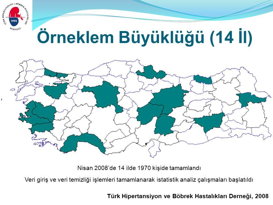 Türk Hipertansiyon ve Böbrek Hastalıkları Derneği, 2008 Örneklem Büyüklüğü (14 İl) Nisan 2008'de 14 ilde 1970 kişide tamamlandı Veri giriş ve veri temizliği işlemleri tamamlanarak istatistik analiz çalışmaları başlatıldı