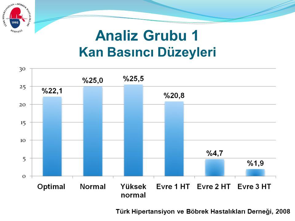 Türk Hipertansiyon ve Böbrek Hastalıkları Derneği, 2008 Analiz Grubu 1 Kan Basıncı Düzeyleri