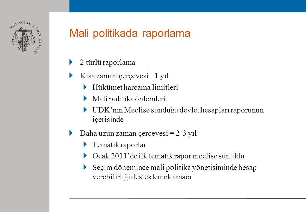 Mali politikada raporlama 2 türlü raporlama Kısa zaman çerçevesi= 1 yıl Hükümet harcama limitleri Mali politika önlemleri UDK'nın Meclise sunduğu devlet hesapları raporunun içerisinde Daha uzun zaman çerçevesi = 2-3 yıl Tematik raporlar Ocak 2011'de ilk tematik rapor meclise sunuldu Seçim dönemince mali politika yönetişiminde hesap verebilirliği desteklemek amacı