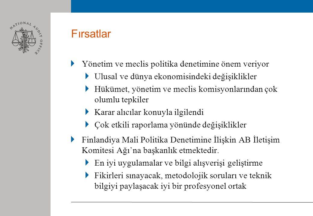 Fırsatlar Yönetim ve meclis politika denetimine önem veriyor Ulusal ve dünya ekonomisindeki değişiklikler Hükümet, yönetim ve meclis komisyonlarından çok olumlu tepkiler Karar alıcılar konuyla ilgilendi Çok etkili raporlama yönünde değişiklikler Finlandiya Mali Politika Denetimine İlişkin AB İletişim Komitesi Ağı'na başkanlık etmektedir.