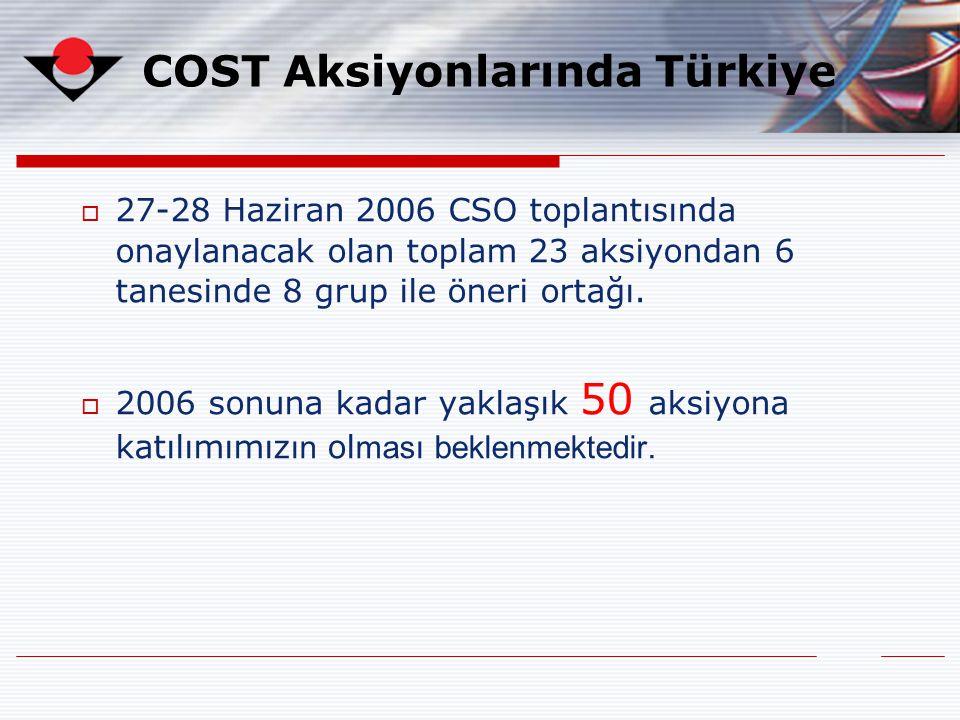  27-28 Haziran 2006 CSO toplantısında onaylanacak olan toplam 23 aksiyondan 6 tanesinde 8 grup ile öneri ortağı.  2006 sonuna kadar yaklaşık 50 aksi