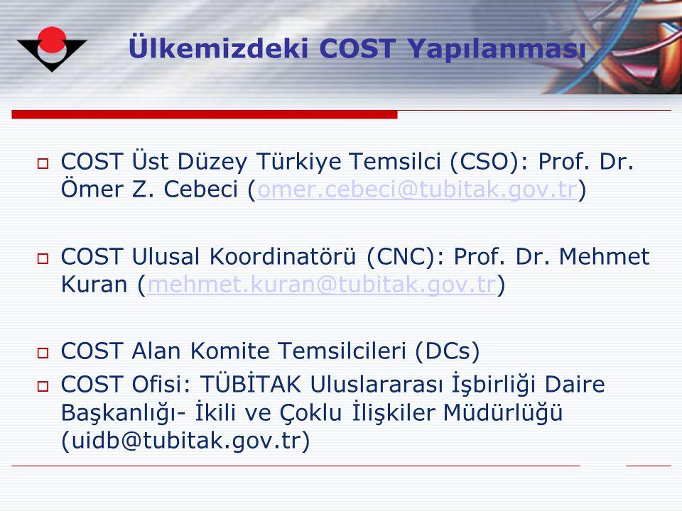  COST Üst Düzey Türkiye Temsilci (CSO): Prof. Dr. Ömer Z. Cebeci (omer.cebeci@tubitak.gov.tr)omer.cebeci@tubitak.gov.tr  COST Ulusal Koordinatörü (C