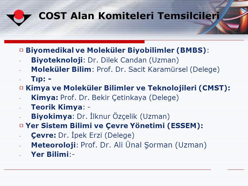COST Alan Komiteleri Temsilcileri □ Biyomedikal ve Moleküler Biyobilimler (BMBS): - Biyoteknoloji: Dr. Dilek Candan (Uzman) - Moleküler Bilim: Prof. D