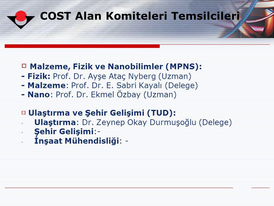 □ Malzeme, Fizik ve Nanobilimler (MPNS): - Fizik: Prof. Dr. Ayşe Ataç Nyberg (Uzman) - Malzeme: Prof. Dr. E. Sabri Kayalı (Delege) - Nano: Prof. Dr. E