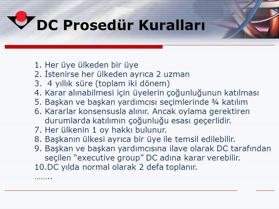 DC Prosedür Kuralları 1.Her üye ülkeden bir üye 2.İstenirse her ülkeden ayrıca 2 uzman 3. 4 yıllık süre (toplam iki dönem) 4.Karar alınabilmesi için ü