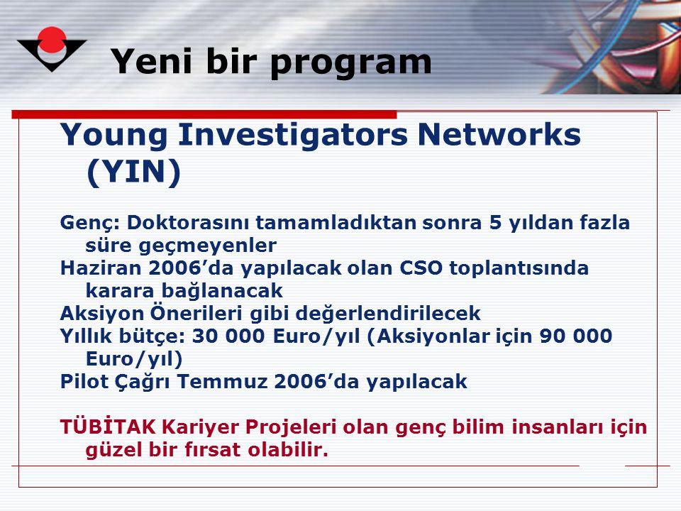 Yeni bir program Young Investigators Networks (YIN) Genç: Doktorasını tamamladıktan sonra 5 yıldan fazla süre geçmeyenler Haziran 2006'da yapılacak ol