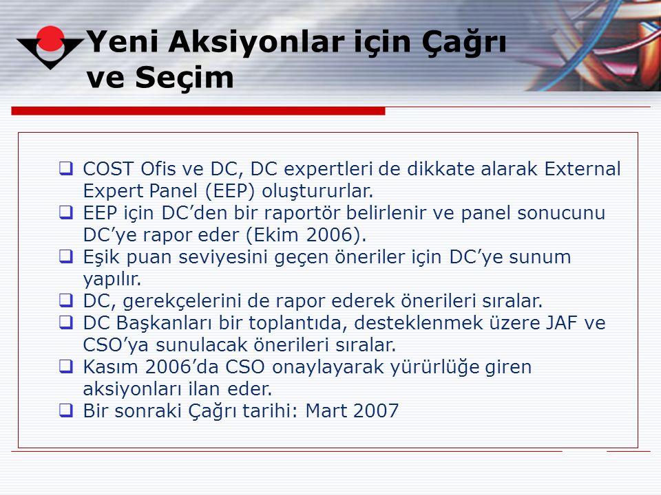 Yeni Aksiyonlar için Çağrı ve Seçim  COST Ofis ve DC, DC expertleri de dikkate alarak External Expert Panel (EEP) oluştururlar.  EEP için DC'den bir