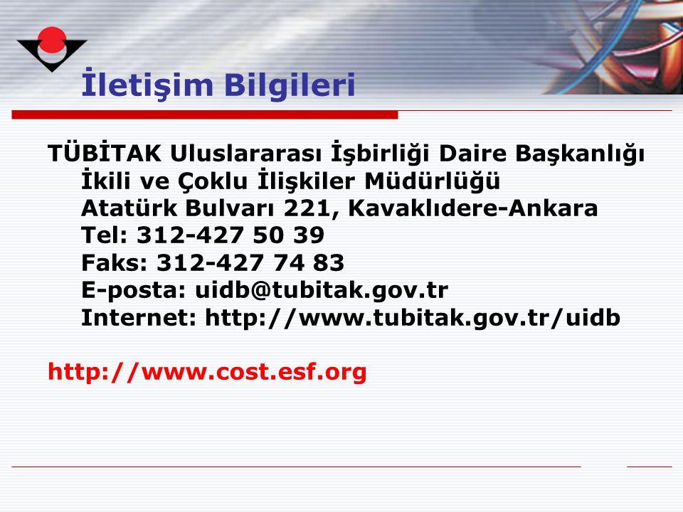 İletişim Bilgileri TÜBİTAK Uluslararası İşbirliği Daire Başkanlığı İkili ve Çoklu İlişkiler Müdürlüğü Atatürk Bulvarı 221, Kavaklıdere-Ankara Tel: 312