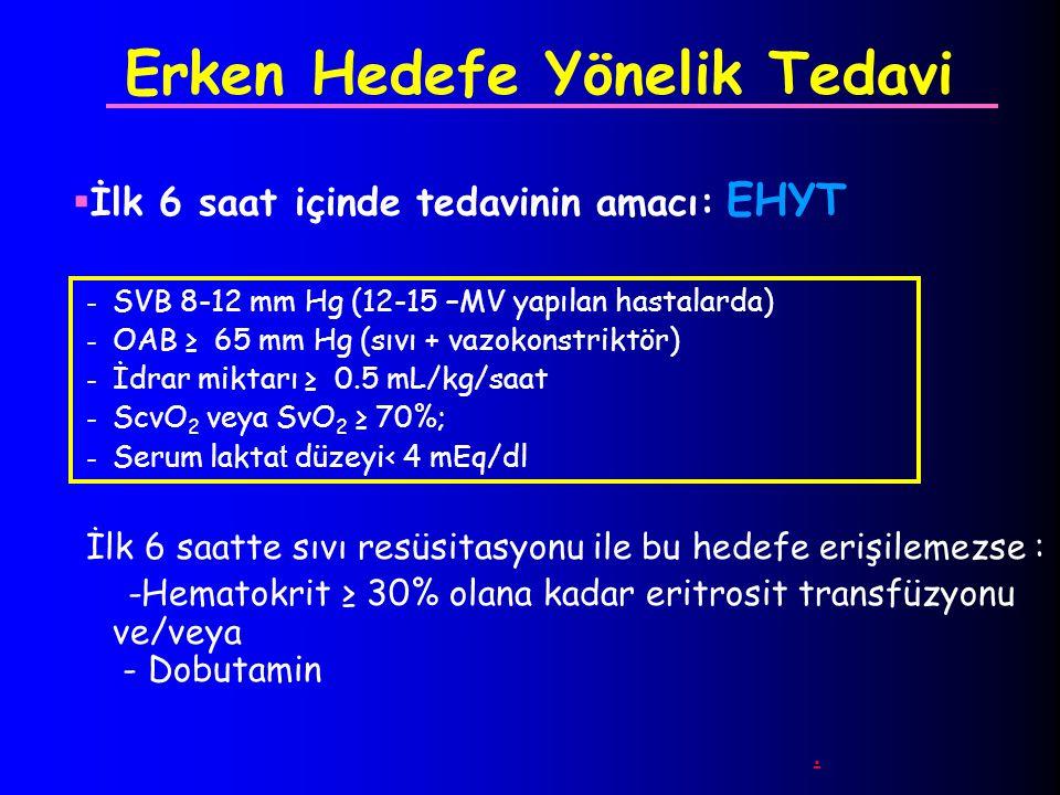Erken Hedefe Yönelik Tedavi  İlk 6 saat içinde tedavinin amacı: EHYT - SVB 8-12 mm Hg (12-15 –MV yapılan hastalarda) - OAB ≥ 65 mm Hg (sıvı + vazokon