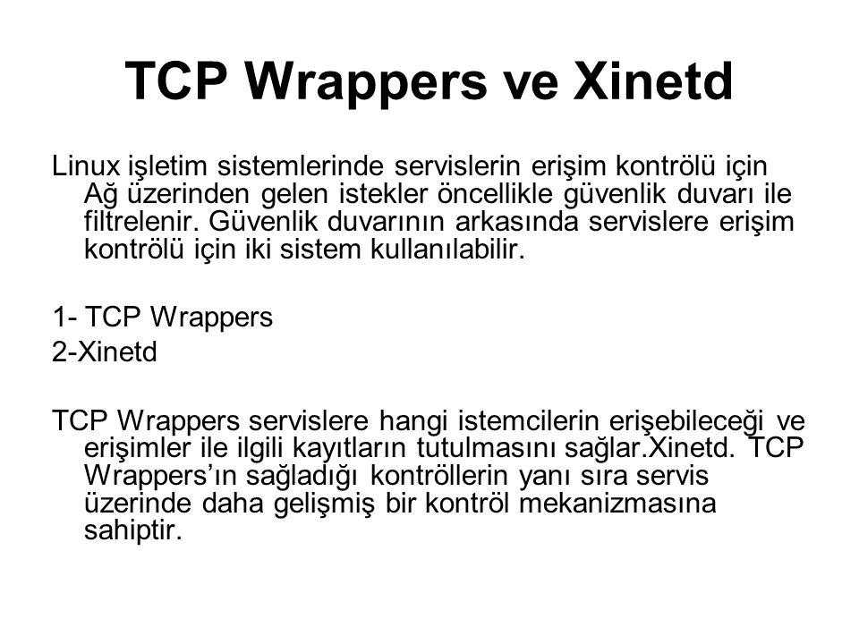 TCP Wrappers TCP Wrappers varsayılan olarak dağıtımla gelen bır pakettir.
