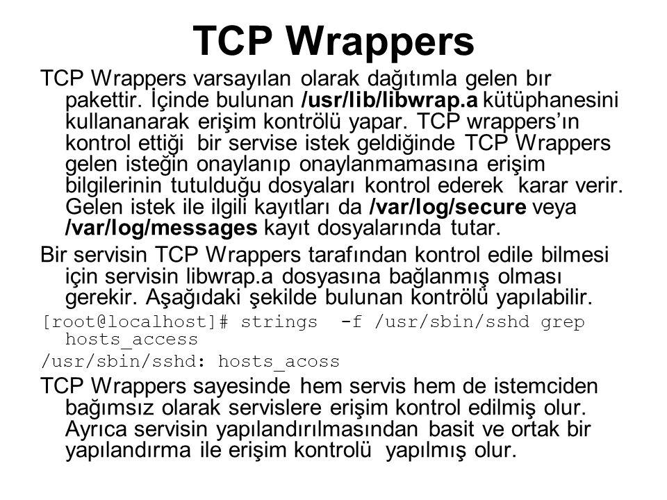 TCP Wrappers Yapılandırması TCP Wrappers'ın kullandığı 2 yapılandırma dosyası vardır.