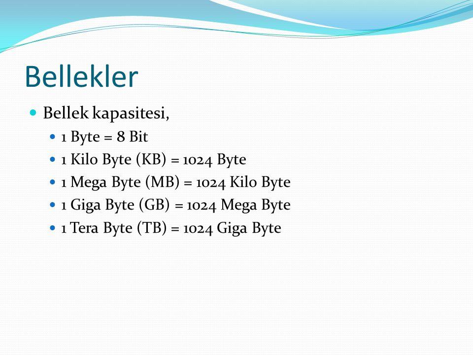 Bellekler Bellek kapasitesi, 1 Byte = 8 Bit 1 Kilo Byte (KB) = 1024 Byte 1 Mega Byte (MB) = 1024 Kilo Byte 1 Giga Byte (GB) = 1024 Mega Byte 1 Tera Byte (TB) = 1024 Giga Byte